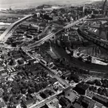 Aerial photograph of Cleveland, Ohio, and the Cuyahoga River Flats from the west