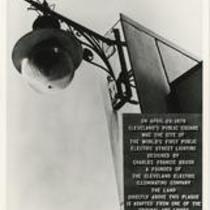 Arc light and commemorative plaque