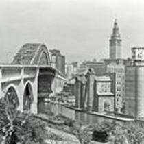 Downtown Cleveland, Ohio, and the Detroit-Superior Bridge from Ohio City