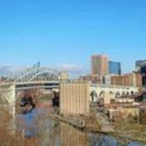 Veterans Memorial Bridge and downtown Cleveland